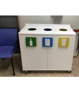Longopac triple cabinet for separate waste collection